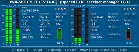 The Hydra interface window on a Cantar showing the remote settings of the SONY DWR-S03