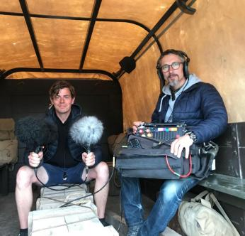 Stuart and 1st Assistant Sound, Tom Fennell, recording an Army Truck.