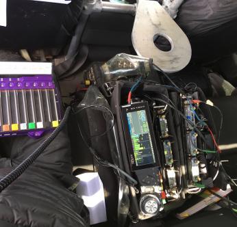 Stuart's bag rig, Cantar X3, Cantarem, wireless receivers, both Wisycom and Lectrosonics